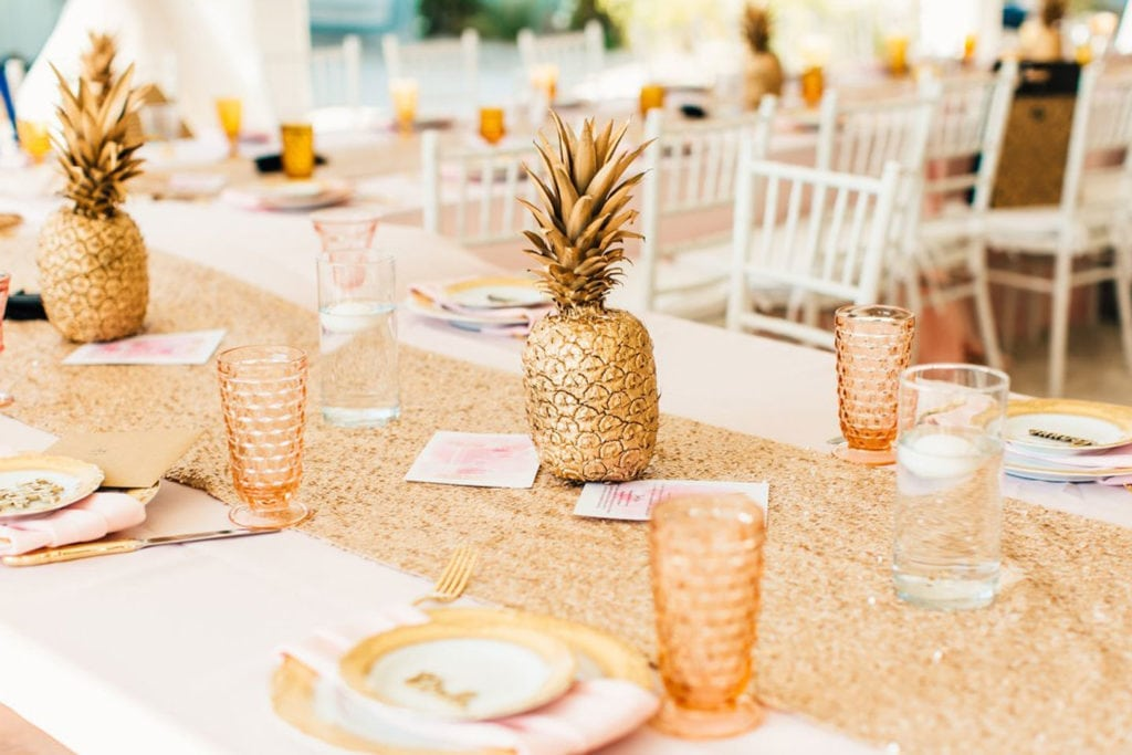 table decorated with pineapples