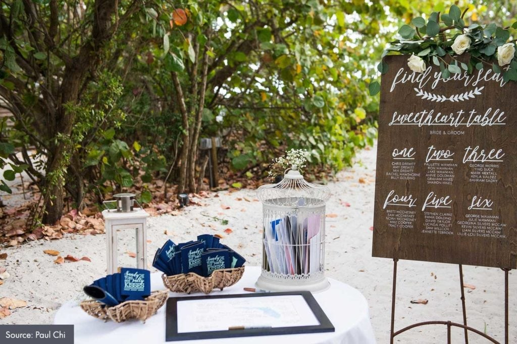 seating arrangement poster board at a wedding reception