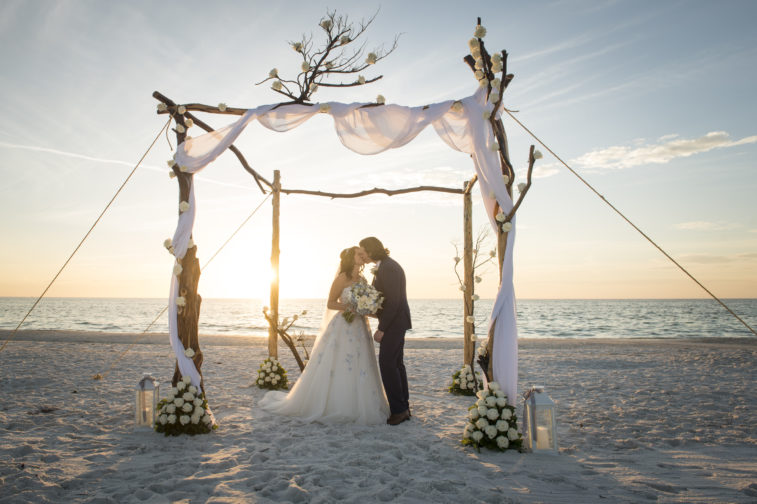 beach wedding at sunset